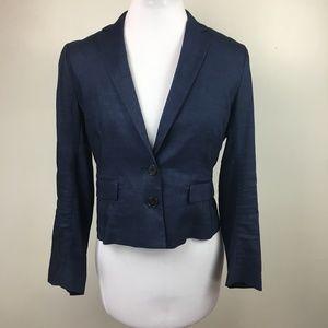 Theory Sz 6 linen blend navy blue blazer